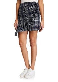 English Factory Ruffle Plaid Wrap Skirt