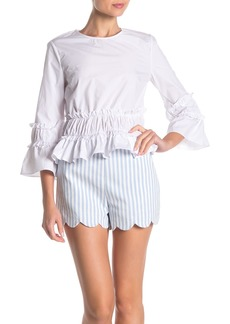 English Factory Ruffled 3/4 Length Sleeve Top