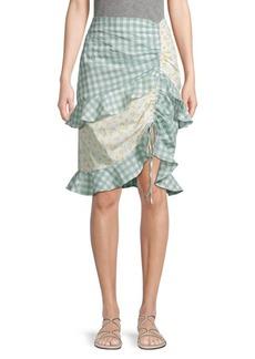 English Factory Ruffled Cotton Patchwork Skirt
