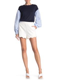 English Factory Scalloped Hem Ponte Knit Shorts