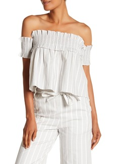 English Factory Striped Smocked Off-the-Shoulder Top