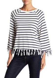 English Factory Stripe Long Sleeve Fringe Blouse