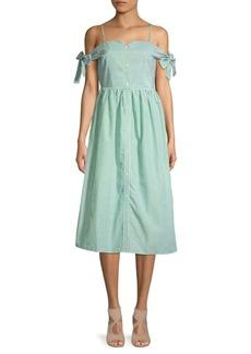 English Factory Striped Cold-Shoulder Midi Dress
