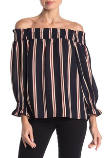 English Factory Striped Off-the-Shoulder Long Sleeve Top