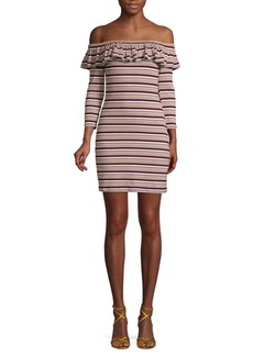 English Factory Striped Off-The-Shoulder Mini Dress