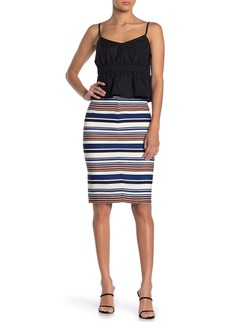 English Factory Striped Pencil Skirt