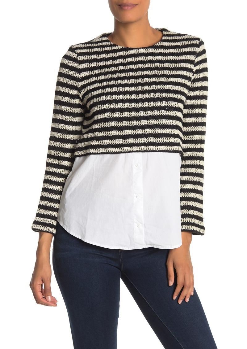 English Factory Striped Sweater & Poplin Twofer Shirt