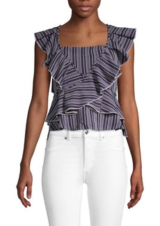 English Factory Striped Ruffle Top