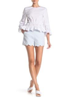 English Factory Striped Scallop Hem Shorts