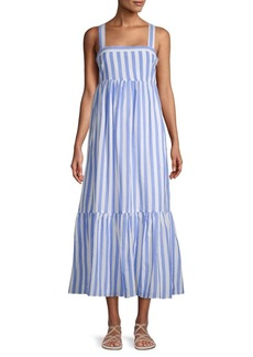 English Factory Striped Shirred Cotton Midi Dress