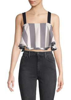English Factory Striped Sleeveless Cropped Top