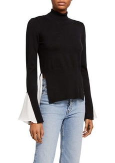 English Factory Sweater & Blouse Twofer Combo Top