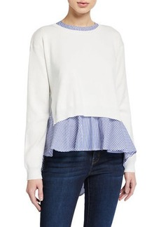English Factory Sweater & Striped Blouse Combo Top