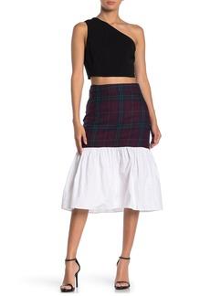 English Factory Tartan Combo Midi Skirt