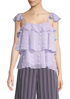 English Factory Textured Ruffle Top