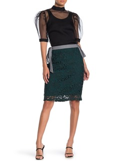 English Factory Tie Floral Lace Knee-Length Skirt