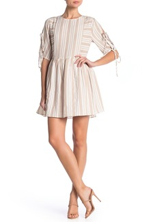 English Factory Tie Sleeve Mixed Stripe Dress