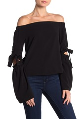 English Factory Tie Sleeve Off-the-Shoulder Top