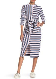 English Factory Tie Waist Stripe Midi Dress