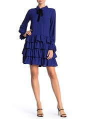 English Factory Tiered Ruffle Velvet Neck Tie Dress