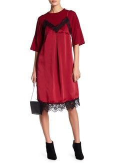 English Factory Two-fer Jersey Knit Satin Dress