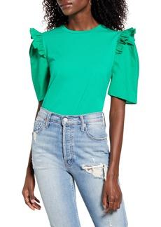 Women's English Factory Mini Ruffle Puff Sleeve T-Shirt