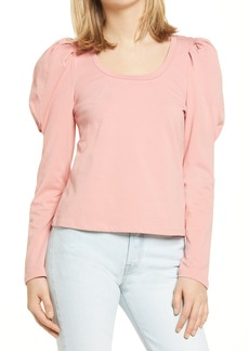 Women's English Factory Pleated Puff Sleeve Top