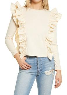 Women's English Factory Poplin Ruffle Trim Shirt