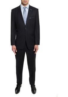 English Laundry Black Blue Plaid Two Button Peak Lapel Trim Fit Suit