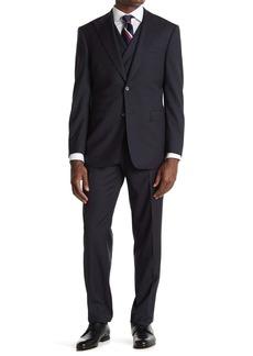 English Laundry Blue Check Two Button Peak Lapel Vest Suit