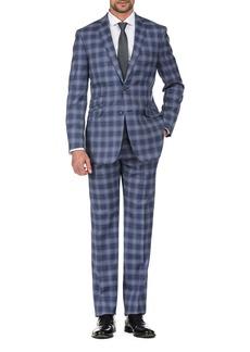 English Laundry Blue Plaid Slim Fit Peak Lapel Suit