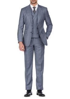 English Laundry Blue Plaid Two Button Peak Lapel Slim Fit Vest Suit