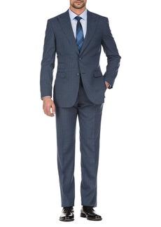 English Laundry Blue Plaid Two Button Peak Lapel Slim Fit Wool Suit