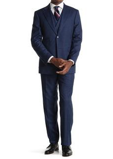 English Laundry Blue Plaid Two Button Peak Lapel Vest Suit