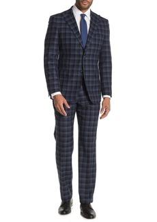 English Laundry Blue Two-Button Peak Lapel Wool Slim Fit 2-Piece Suit