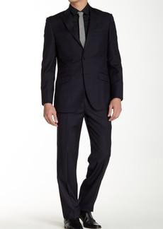 English Laundry Blue Two Button Peak Lapel Wool Trim Fit Suit