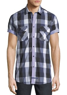 English Laundry Buffalo-Plaid Short-Sleeve Sport Shirt