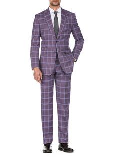 English Laundry Burgundy Plaid Slim Fit Peak Lapel Suit