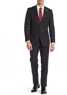 English Laundry Charcoal Plaid Two Button Notch Lapel Stretch Trim Fit Suit