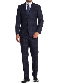 English Laundry Check Print Two Button Stretch Suit
