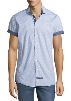 English Laundry Classic-Fit Scribbled-Dot Short-Sleeve Sport Shirt