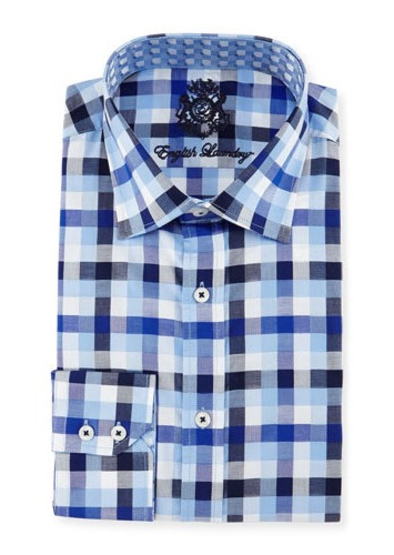 English Laundry Big-Check Woven Dress Shirt