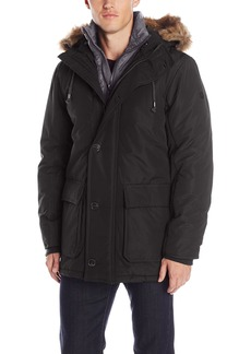 English Laundry Men's Long Parka with Bib Black