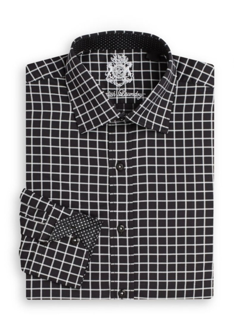 English Laundry Regular-Fit Graphic Check Dress Shirt