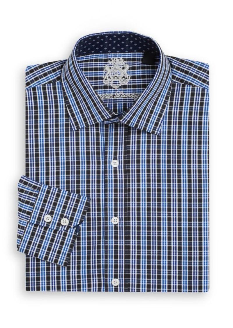 English Laundry Regular-Fit Plaid Cotton Dress Shirt