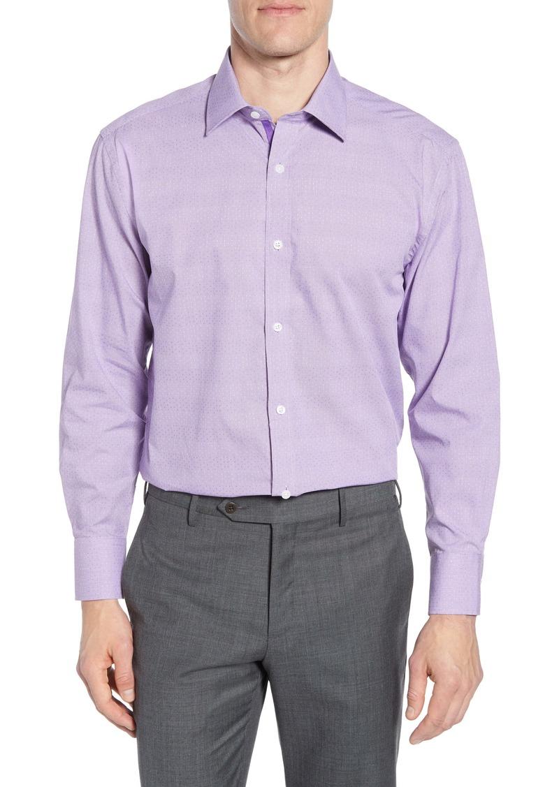 English Laundry Trim Fit Dot Jacquard Dress Shirt