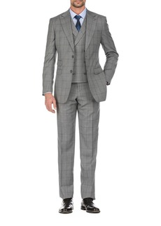 English Laundry Gray Plaid Slim Fit Two Button Notch Lapel Wool Suit