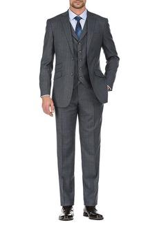 English Laundry Grey Plaid Two Button Notch Lapel Vest Suit