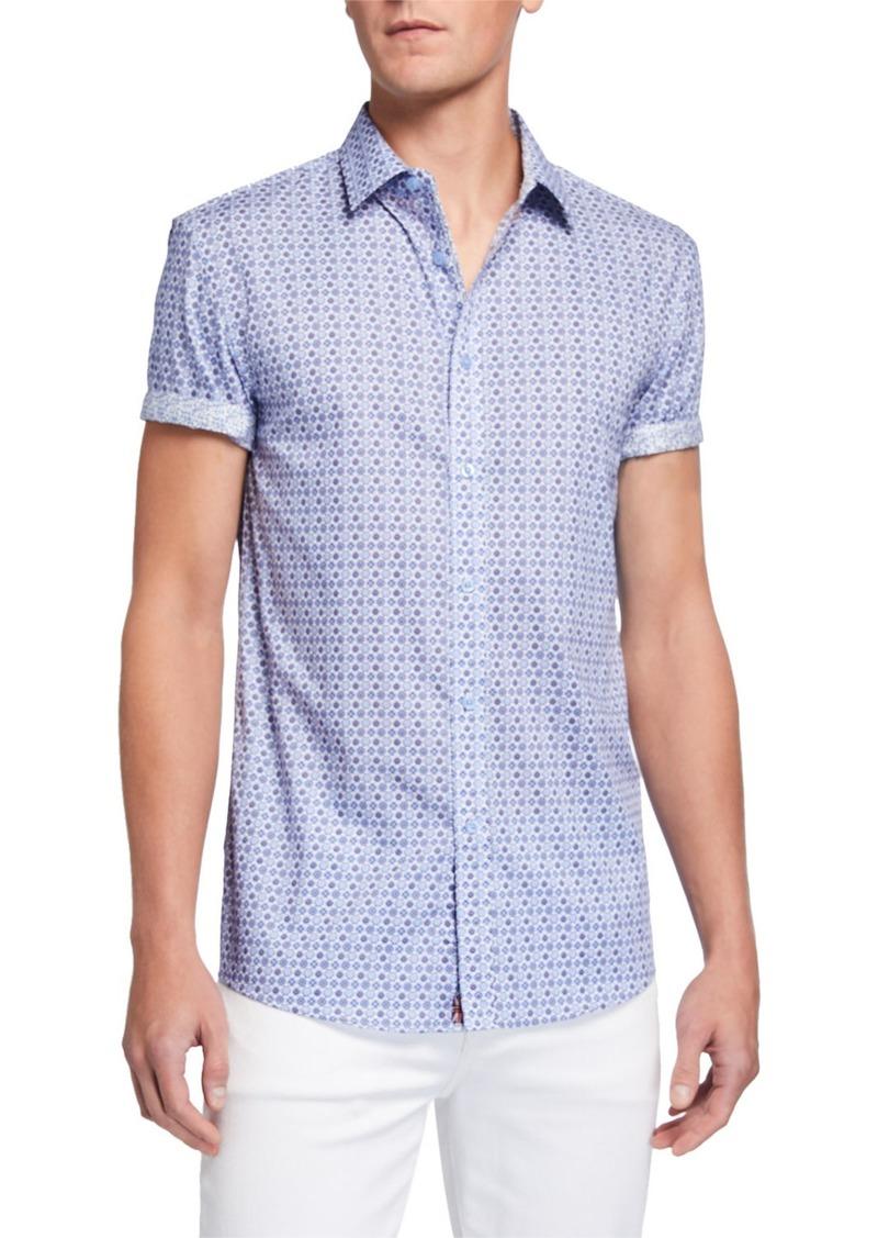 English Laundry Men's Circle-Print Short-Sleeve Sport Shirt