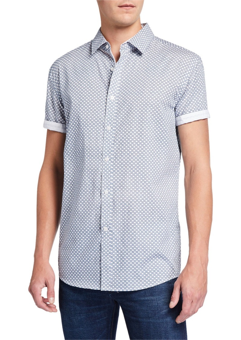 English Laundry Men's Geometric Short-Sleeve Cotton Sport Shirt